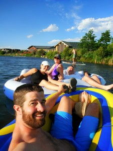 Floating the river with Dad and Katie this summer.