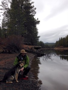 Adam and Guinness by the Deschutes River on our rainy Sabbath hike last weekend.
